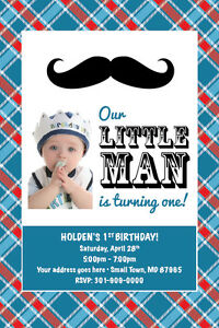 LITTLE MAN MUSTACHE Printable 1st Birthday Party Baby Shower