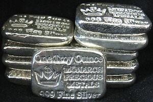 Monarch Precious Metals Hand Poured 1 Troy Oz 999 Fine