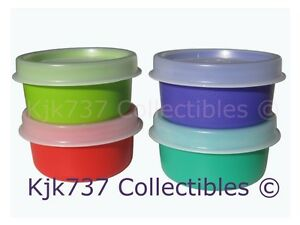 BRAND-NEW-4-TUPPERWARE-SMIDGETS-TINY-1OZ-GADGET-CONTAINERS-GREEN-RED-TURQ-BLUE