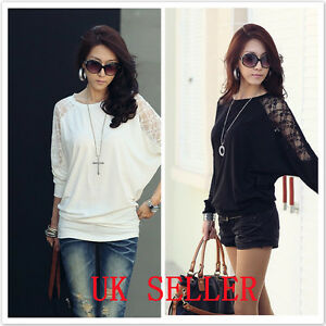 UK-Shop-Ladies-Stylish-Loose-Batwing-Lace-Long-Sleeved-Top-T-Shirt-Size-8-14