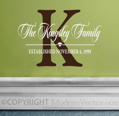 MONOGRAM Personalized Name Vinyl Wall Decal Sticker Bedroom Livingroom Decor