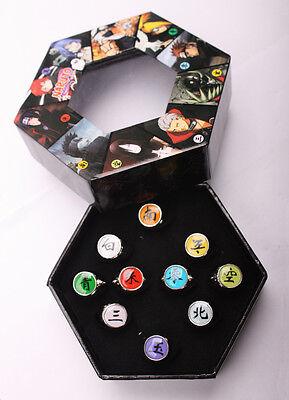 new Cosplay 10 pcs NARUTO Akatsuki member's Ring Set with box