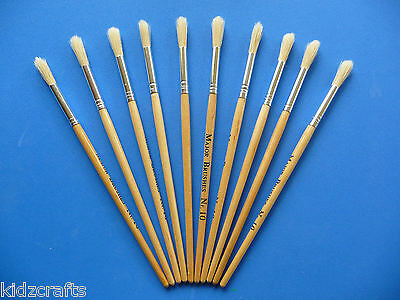 Paint Brushes Size 10 Wooden Handle Round Hog Bristle Art & Craft Pack of 10