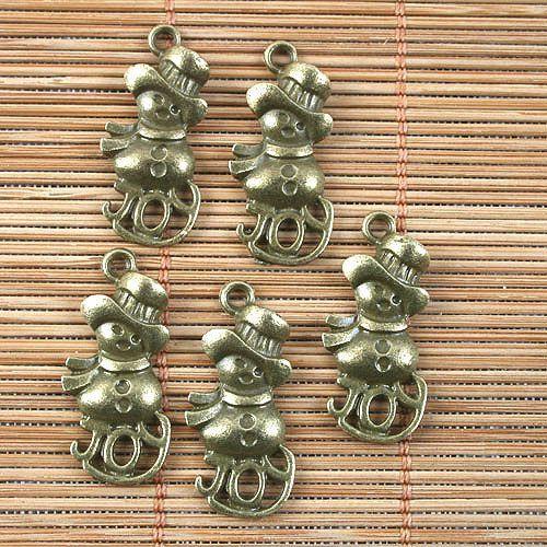 Latón Antiguo alegría Muñeco De Nieve Diseño Colgante G1506 10 un