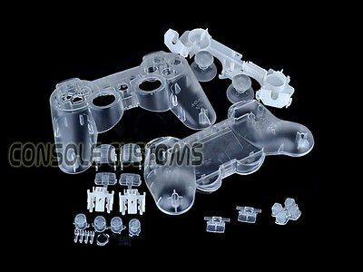 NEW PS3 CLEAR Controller Shell Replacement case housing transparent with buttons