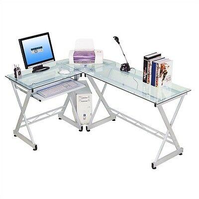 Computer Desk Home Furniture NEW Table Corner Hutch Office L Shaped Glass Top L