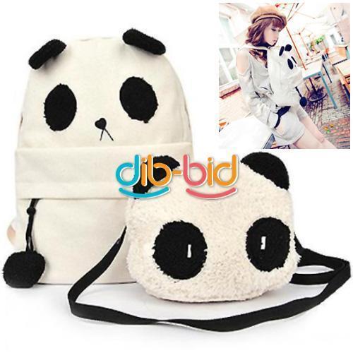 Fashion Cute Women Style Panda Schoolbag Backpack Shoulder Book Bag Set SFS