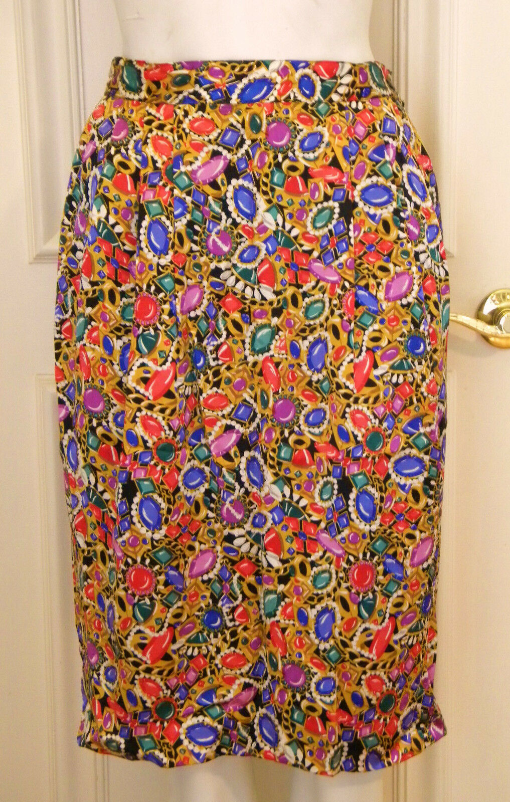 Talbots skirt silk jewel print 10 colorful lined 28  waist holiday career