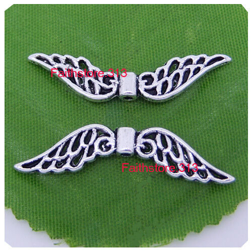 5Pcs Tibetan Silver Hollow Fancy Angel Wing Charms Spacer Beads 52mm x 12mm P231