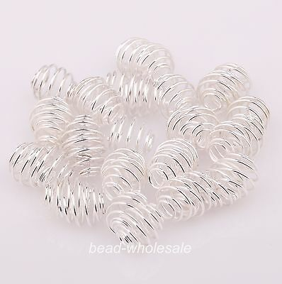 50pcs Silver/Gold Plated Rotation Pattern Ball Spacer Beads Findings