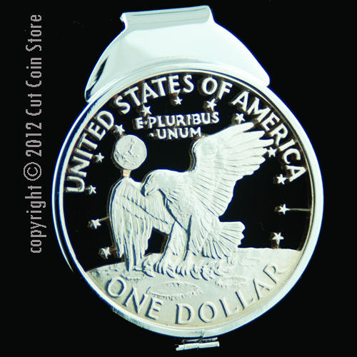 Liberty Eagle Ike Eisenhower Silver Dollar Money Clip Cut Coin