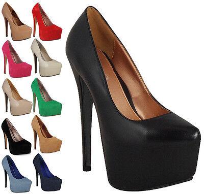 Womens Ladies Suede Concealed Platform High Stiletto Heel Pumps Court Shoes 3-8