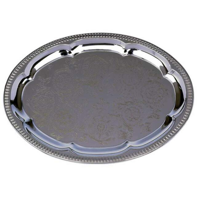 Lot of 10 SILVER Finish OVAL Serving Trays Wedding Catering Party Tray Platter