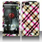 Premium - Motorola mb810/Droid X Hot Pink Plaid Cover - Faceplate - Case - Snap On - Perfect Fit Guaranteed