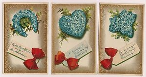 Set of 3 BB London Series No 13 Forget me Not Floral Flowers Postcard