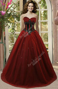 GOTHIC-CUSTOM-GORGEOUS-RED-amp-BLACK-CORSET-WEDDING-DRESS-BRIDAL-GOWN-B1306
