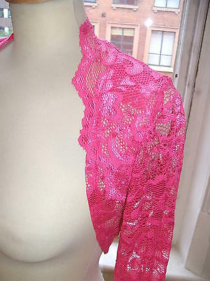 Baylis & Knight Bright Pink FRENCH LACE Long Sleeve BOLERO Cardigan Stole Shrug