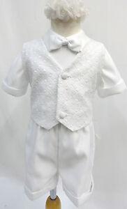 Infant Toddler & Boys CHRISTENING BAPTISM TUXEDO SHORT SUIT Sz: 2T 3T 4T White