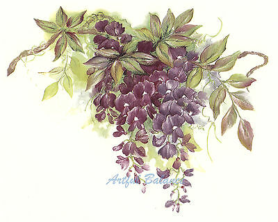 Ceramic Decals Purple Wysteria Floral Flower