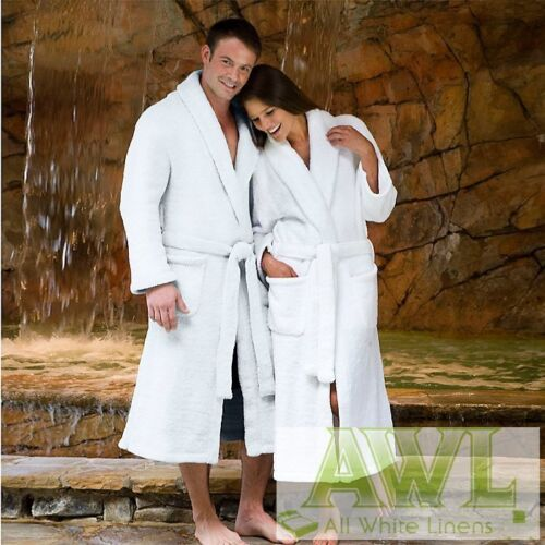 WHITE BATHROBES DRESSING GOWNS 4 QUALITIES  WAFFLE WEAVE VELOUR TERRY VELSOFT