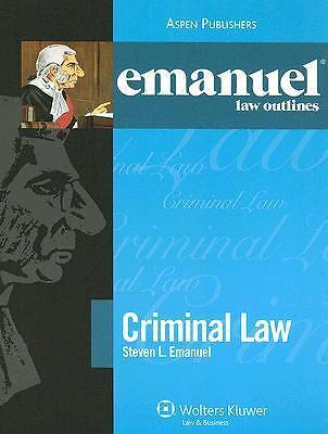 Criminal Law by Steven L. Emanuel (2007, Paperback, Student Edition of Textbook)