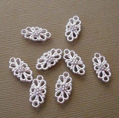 10pcs-Pendant, Charm Connector Flower Silver 8x16mm.