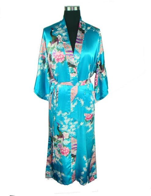 New Style Chinese Silk Women's Kimono Robe Gown Clubs With Obi Evening Nightwear