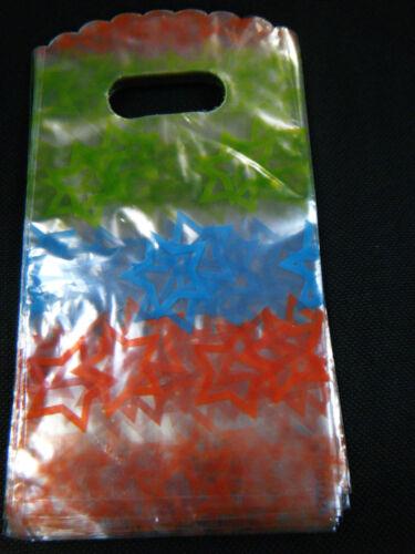 100 X Givré Plastique étoiles Cadeau Fête Sacs magasins Bonbons uksell 2 Tailles