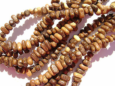 CL-101 Wood Bead Robles Handmade Brown Wax Polished Flat Oval 3x5mm 16 in strand