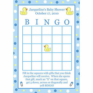 Image Is Loading 24 Personalized Baby Shower BINGO Cards Blue Rubber
