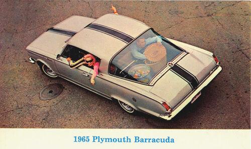 1965 Plymouth BARRACUDA Fastback NOS Original Vintage Dealer Promo Postcard VG+