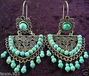TAXCO-MEXICAN-STERLING-SILVER-TURQUOISE-BEAD-SCROLL-FILIGREE-EARRINGS-MEXICO