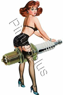 Sexy Retro Spark Plug Pinup Waterslide Decal S397 by Pinupsplus