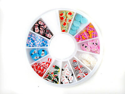 CH Wheel New Mixed Nail Art Tips Glitters Rhinestones Slice Decoration Manicure