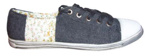 Sneakers Jeans Slipper Schuhe Flower Blumen 36 37 38 39 40 41 flach geschnürt