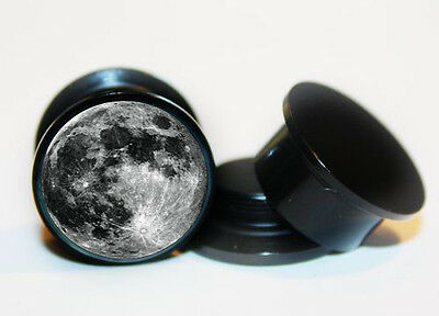 Pair of Acrylic Surface Of Moon ear plug gauges tunnel screw on backs