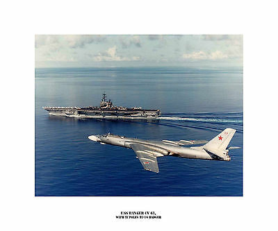 USS Ranger CV 61, with Tupolev Tu-16 Badger - Naval Ship Photo Print, USN Navy