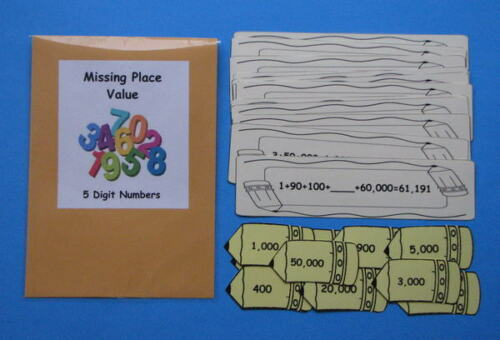 Teacher Made Math Center Resource Game Place Value 5 Digit Numbers