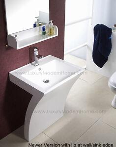 details about modern sink pedestal acrylic vanity bathroom zen corian