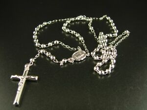 10K-White-Gold-Rosary-Diamond-Cut-Necklace-Chain-25-4-5