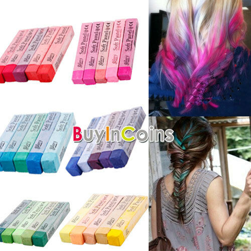 5 Color Pink Purple Red Green Blue Non-toxic Temporary Hair Dye Chalk HKUS