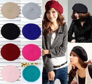8-Farben-Damen-Baskenmuetze-Barett-Beret-French-Muetzen-Tellermuetze-Kopfbedeckung
