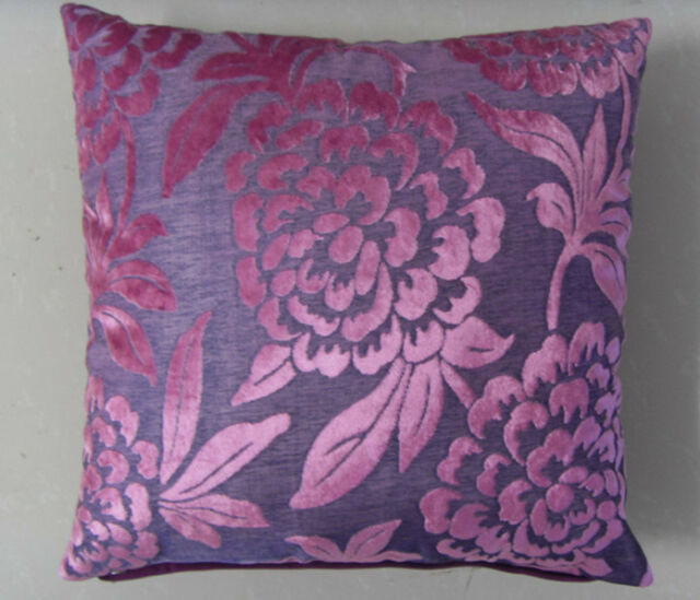 """New Luxury Purple Floral Decorative Throw Pillow Case Cushion Cover Square 17"""""""