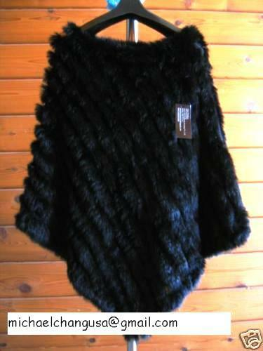 $199 Genuine Rabbit Fur Poncho Black