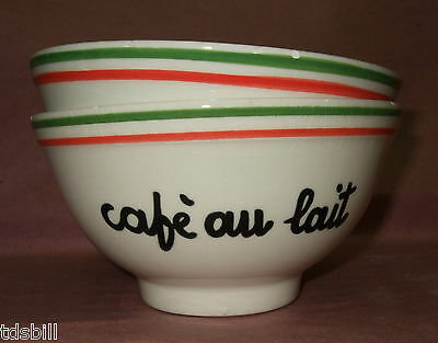 Trendland Cafe au Lait Bowls - Set of Two - Red, White & Green - Italy
