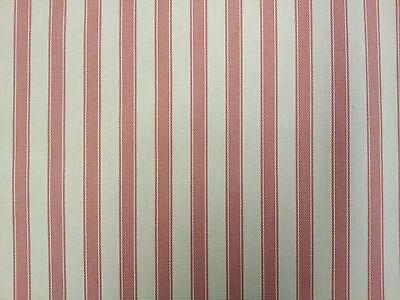 Ticking Stripe Cotton Pink Designer Curtain Upholstery Fabric