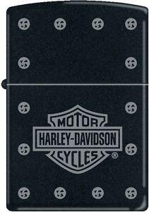 Zippo Harley Davidson Studs with Shield Black Matte Windproof Lighter NEW RARE