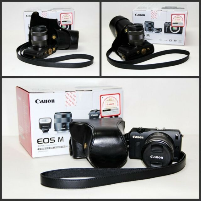 black leather case bag cover for Canon EOS M2 with 18-55mm lens kit NEW (+strap)