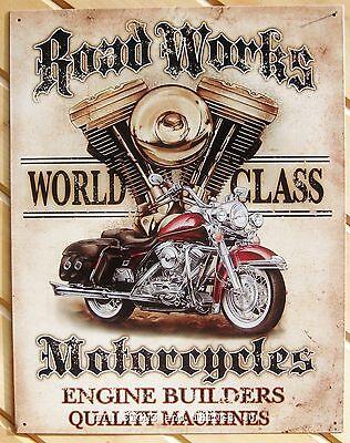 RoadWorks Motorcycle TIN SIGN vtg harley art garage metal wall decor poster 1536
