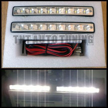 E4 LED DRL Daytime Running Lights - 2x4W - 8LED - 12V - Universal - 15.5cm width
